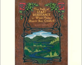 Elbert Hubbard - Resistance: Matted Giclée Art Print by The Bungalow Craft by Julie Leidel (Arts & Crafts Movement)