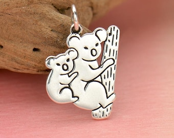 Sterling Silver Mom and Baby Koala Charm