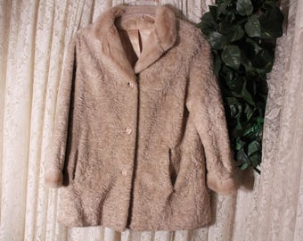 Vintage FAUX SHEARLING COAT 44-Inch Bust Russell Taylor Union Label Made in United States Fully Lined Work Business Dress