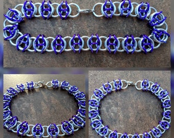Celtic Visions Bright Silver and Purple Aluminum Chainmaille Bracelet