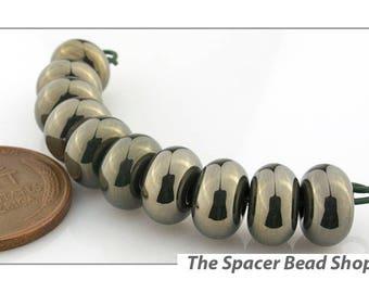 NEPTUNE GREEN METALLIC  Lamp Work Beads Spacers Glass Handmade - The Spacer Bead Shop