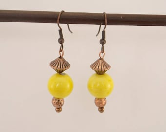 Yellow glass bead and copper metal beads earrings