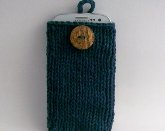 Galaxy s3, s4, s5,s6, or s7 iPhone 4, 5, 6 or 7 cell phone case cotton dark denim handknit natural coconut  button crochet loop