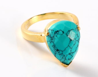 Turquoise brass ring size 7 us