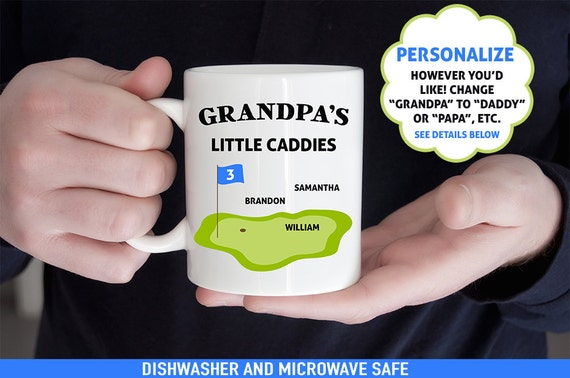 Coffee Mug Grandpa's Little Caddies - Customized Coffee Cup - Personalized with Kids Names