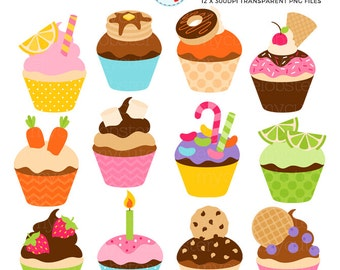 Fun Cupcakes Clipart Set - clip art set of cupcakes, candy, birthday, party, cake - personal use, small commercial use, instant download