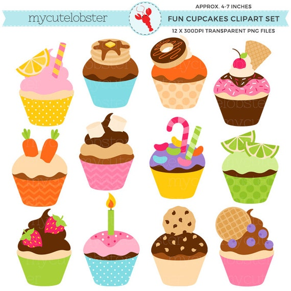 fun cupcakes clipart set clip art set of cupcakes candy rh etsy com cupcake clipart black and white free cupcake clipart images