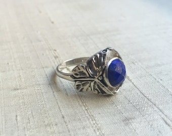 Faceted Lapis  in Sterling Silver- The Butterfly Duo Ring