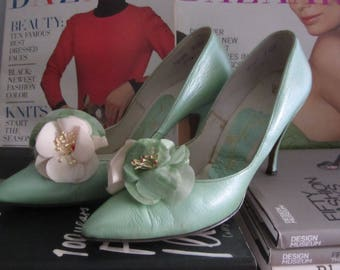 1960s mint green stiletto heels | 50's 60's Mid Century MCM Old Hollywood