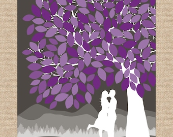 Guest Book Tree // Personalized Skyline & Choice of Silhouette // Wedding Guestbook Alternative // 175 Signature // W-T05-1PS HH3