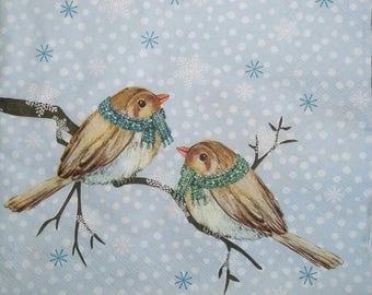 126 birds EMMITOUFLES X 4 towel pattern paper