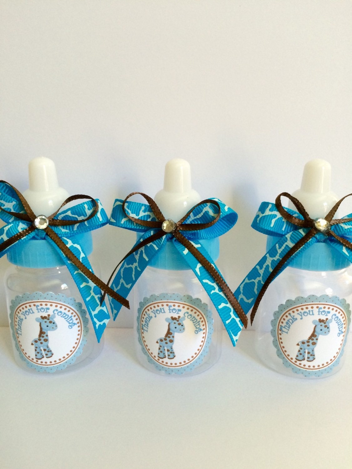Baby giraffe bottles blue and brown giraffe favors boy\'s