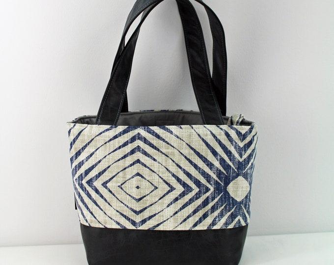 Lulu Medium Tote  Bag - Capri Blue with PU Gray Leather - READY to SHIP