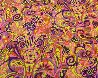 Vintage Neon Fabric. 1/2 yd. Vintage 70s Knit Fabric. Vintage Lycra Fabric. Pink Floral Fabric. Vintage Paisley Fabric. Mod Swimsuit Fabric.