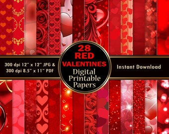 Red Valentines Day Scrapbook Paper Digital Paper Background Printable Wrapping 28 Hearts Roses Paper Love DOWNLOAD 12x12 JPG PDF