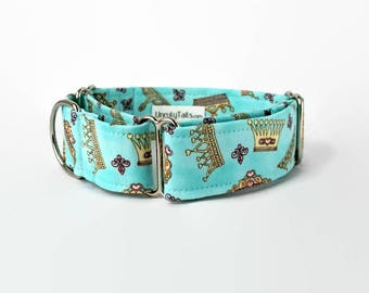 Crowns & Tiaras Custom Dog Collar - Martingale Collar or Side Release Buckle Collar -  Princess or Queen Crowns on light blue background