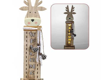 Wooden christmas reindeer with wooden inserts and led lights. 51.27.79 reindeer F2-62NH-NIKE