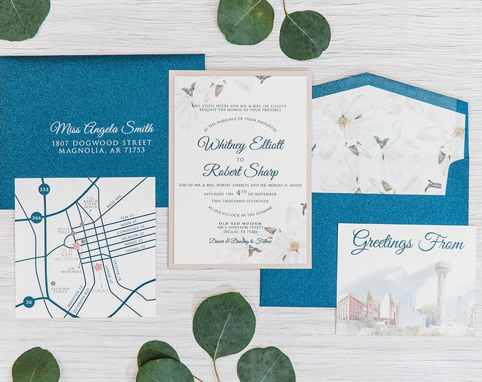 Two Layer Navy Blue and Blush Rose Pink, City of Dallas and Magnolias Themed Wedding Invitation, RSVP, Details & Directions with Custom Map