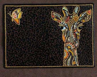 """Passport Cover """"Giraffe 2"""" . Genuine leather . Hand-painting ."""