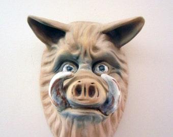 "Hog Wild, Hog Head Wall Piece. Ceramic Sculpture. Pop Surrealism. Kathleen McGiveron. 12""h x 8""w x 6""d"