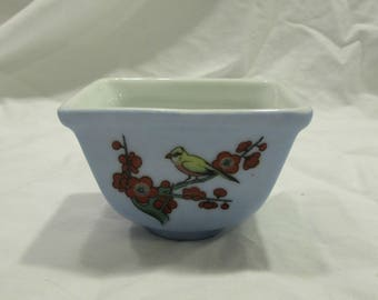 Ring Dish, Coin Dish, Tiny, Pale Blue, Hand Painted Birds, Porcelain, China, 1970's or 1980's