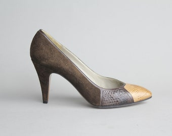 sz 6 | Vintage Maserati Two Tone Shoes | Snakeskin Leather Pumps | Colorblock High Heels | Mint Condition | 36
