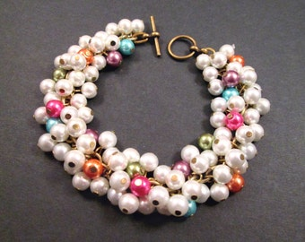 Pearl Cha Cha Bracelet, White and Rainbow Pearl Beaded, Brass Charm Bracelet, FREE Shipping U.S.
