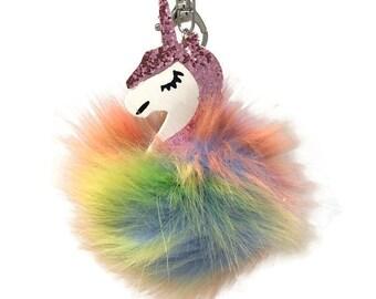 Pink Glitter Unicorn Rainbow Sherbert Pom