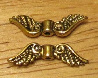 Angel wings - Antique Gold - Fancy Tibetan Style  - Lead Free - Qty. 20 pcs.