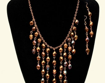 Pressed Czech Glass Beads Fire Polish Metallic Red Earrings and Necklace Set
