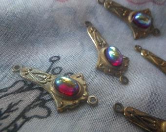 Vintage Siam Ruby Red Aurora Borealis Art Nouveau Scrolled Tiny Lotus Brass Ox Connectors 24x7mm 6 Pcs