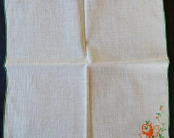 Vintage Embroidered Hanky with Orange and Green Flower Hankercheif Hanky Hankie Handkerchief