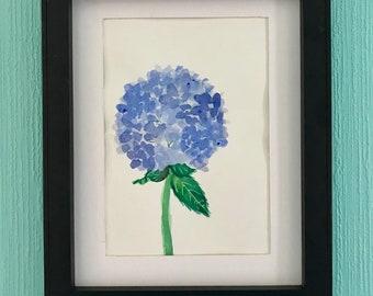 Blue Hydrangea Original Watercolor
