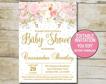 Girl baby shower invitations etsy gold baby shower invitation template editable girl baby shower invitation blush pink flowers gold glitter invite instant download p55 filmwisefo