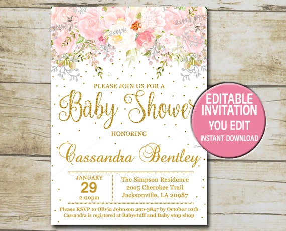 Gold Baby Shower Invitation template Editable Girl Baby