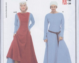 Burda 7977 Misses Women's Medieval Gown and Tabard RenFaire Costume UNCUT Sewing Pattern