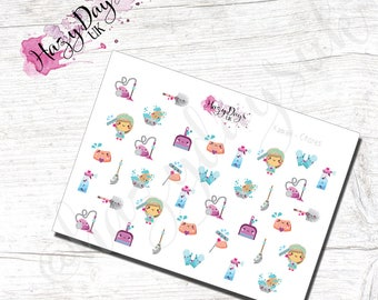 Kawaii - Household Chores Planner Stickers, adulting awards, planner reminders for ECLP, Happy Planner, TN, Kikki.K etc