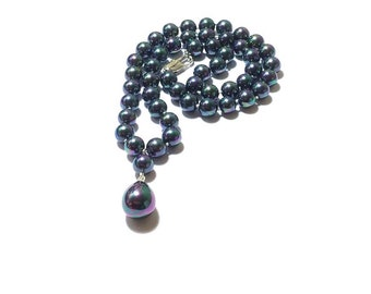 Hand Knotted Peacock Pearl Necklace  ,  16MM  Shell Pearl Pendant