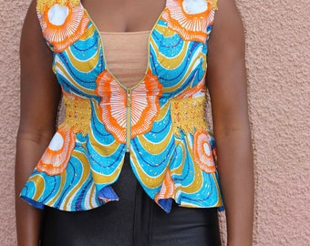 African Print Sleeveless Blazer by GoWoman