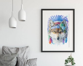 Bohemian Wolf Wall Art Print Spirit Animal Totem Series - Tribal Native America Print Wolf Gifts Baby Woodland Nursery Decor Succulent Print