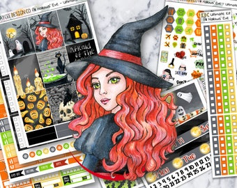 ULTIMATE Weekly Kit / All Hallows' Eve / Halloween / Planner Stickers / Fits Erin Condren Vertical & MAMBI / Hand Drawn /