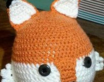 Teen/Adult Fox Hat with Ear Flaps and Ties