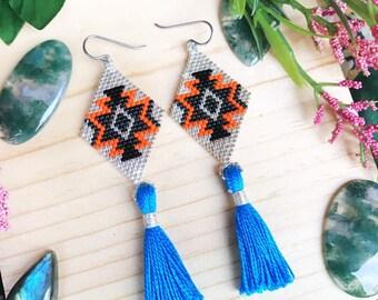 Tassel earrings, Statement Earrings, Geometric jewelry, Colorful earrings, Gift for her,Hypoallergenic,Seed bead, Bold, Summer jewelry