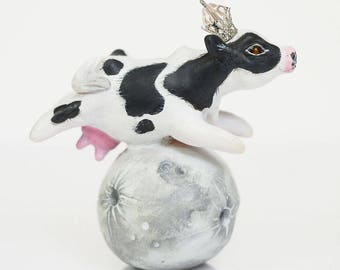 Cow Jumped Over The Moon - Handmade Polymer Clay Sculpture With a Swarovski Crystal
