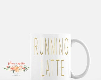 "Gold Foil ""Running Latte"" Mug 11oz."