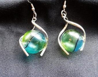 Silver with Glass Orb Center-Dangle Earrings- Pierced Ear Rings- Aqua-Teal Glass Orbs Earrings- Cool Vintage Fashion-Retro Costume Jewelry