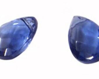 4pc - 16x10mm Faceted Quartz Tanzanite Teardrop Briolette Charm Pendants