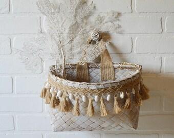 Seashell Basket, Seashell Fringe Basket, Coastal Wicker Basket, Tassel Wicker Basket, Seashell Wicker Basket, Island Bohemian, Boho Basket