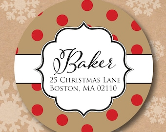 Christmas Address Labels Return Address Label Rustic Red Polka Dots Sticker for Holiday Cards