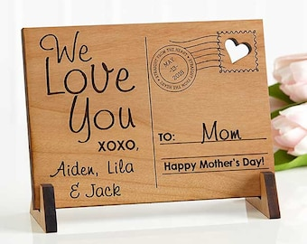 Sending Love To Mom Personalized Wood Postcard